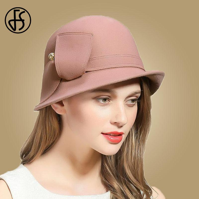 b02b9cbc718 2019 FS Elegant Pink Wool Felt Hats Wide Brim Fedora Hat For Women Winter  Cloche Bowler Round Cap Chapeau Femme Vintage Fedoras From Winwin2013