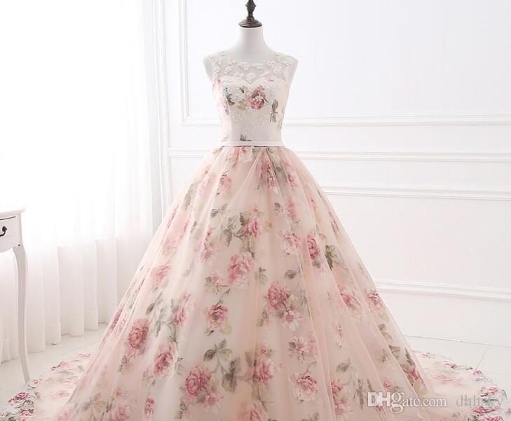Apliques Vestido de fiesta Estampado de flores Vestido de gala de organza Vestidos de noche Rosa flores Encaje Vestidos formales