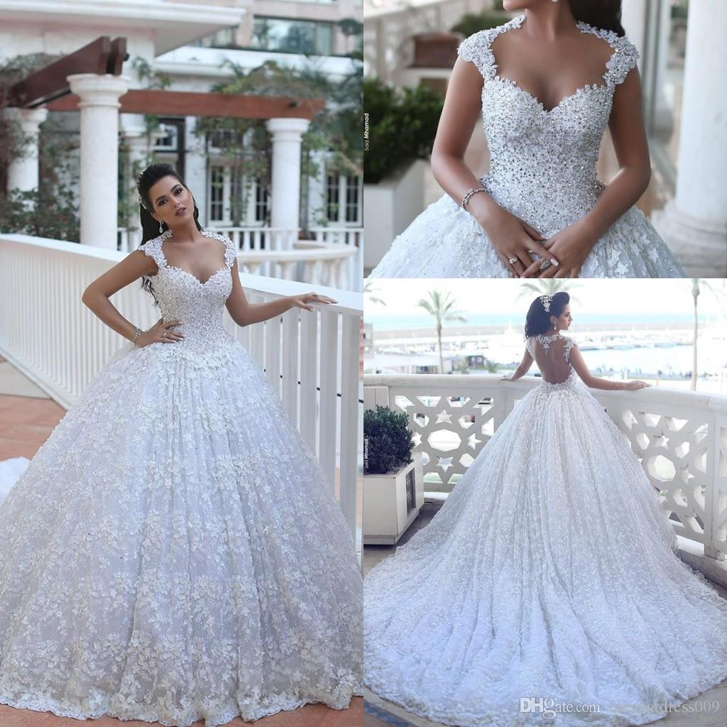 Luxury Arabic 2018 Said Mhamad Ball Gown Wedding Dresses Lace Applique  Beaded Sequined Crystals Chapel Train Wedding Dress Bridal Gowns Cheap Wedding  Gowns ... 91318ba15f1d