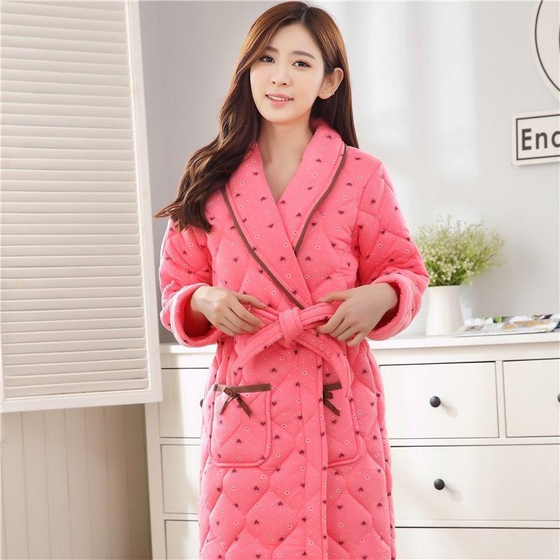 2019 Ladies Long Bathrobe Women Flannel Robe Women Flannel Robe Long  Bathrobe Print Coral Fleece Sleepwear From Piaocloth b7f5377222