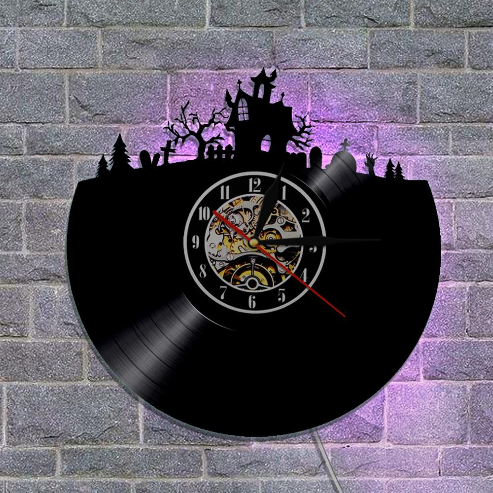 halloween vinyl wall clock haunted house design with backlight room