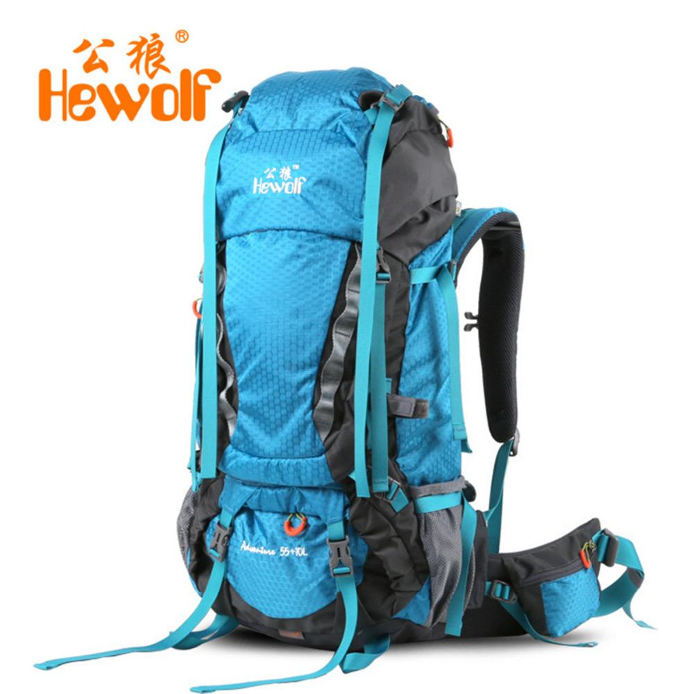 2a869bb60d510 Hewolf 65L Outdoor Bags Climbing Hiking Rucksack Shoulder Backpacks  Mountaineering Climbing Equipment Unisex Backpack Rain Cover Drawstring  Backpack Black ...