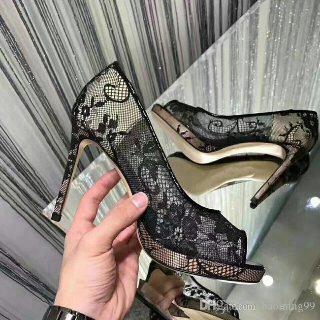 Newest Lace Hollow Out Flower Platform Pumps Women Sandals Sexy High Heel Peep toes Ladies Shoes Elegant black banquet shoe Woman's sandals