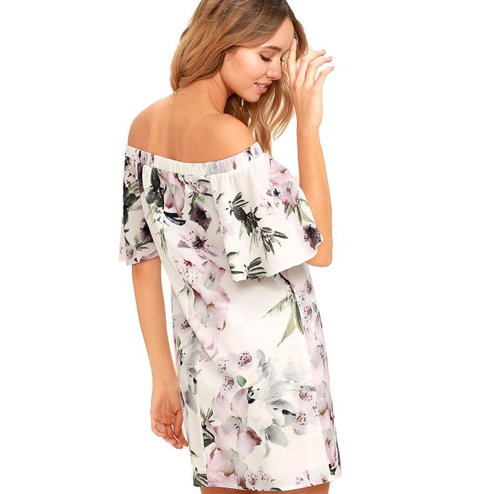 7f7338203d6cd Fashion Women Summer Dress 2019 Floral Print Off Shoulder Beach Dress XL  Elastic Slash Neck Mini Elegant Party One Piece White Buy Women Dress Floral  ...
