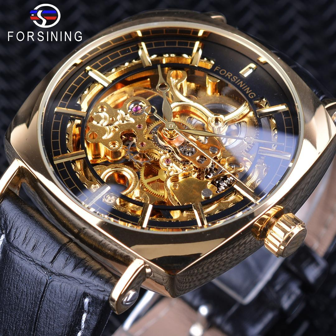 Forsining 2018 Creative Watch Waterproof  Golden Skeleton Mechanical Watches Black Genuine Leather Mens Wristwatches Clock