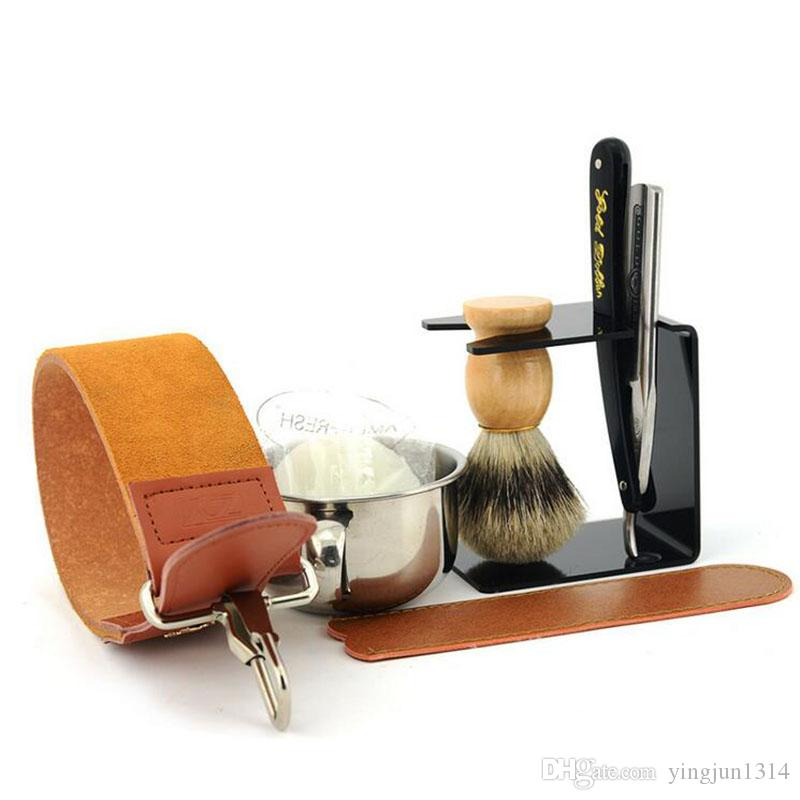 Straight Razor Gold Dollar Best Badger Shaving Brush Soap Bowl Barber Leather Sharpening Strop Strap Men Shave Beard Set