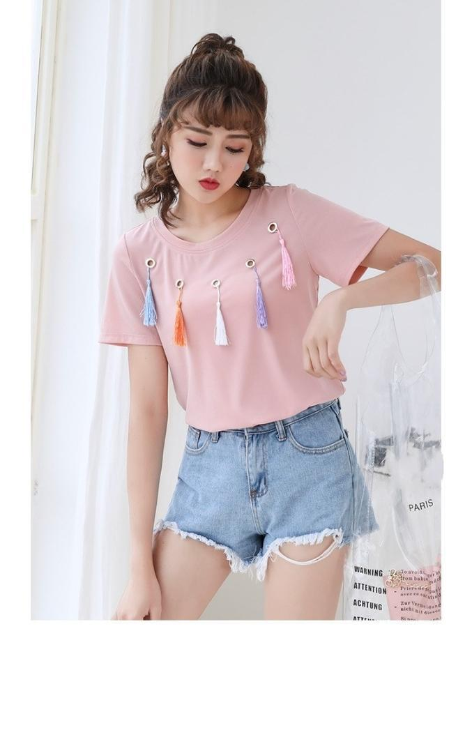 2018 Summer Women Tassel Casual Tee Top O-Neck Plus Size Fat Mm O Neck T Shirt Sweet Solid Short Sleeve T-Shirt