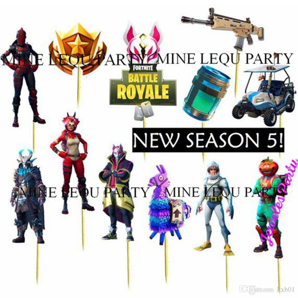 Acheter Serie 5 Fortnite Theme Party Pcandy Bar Cupcake Toppers