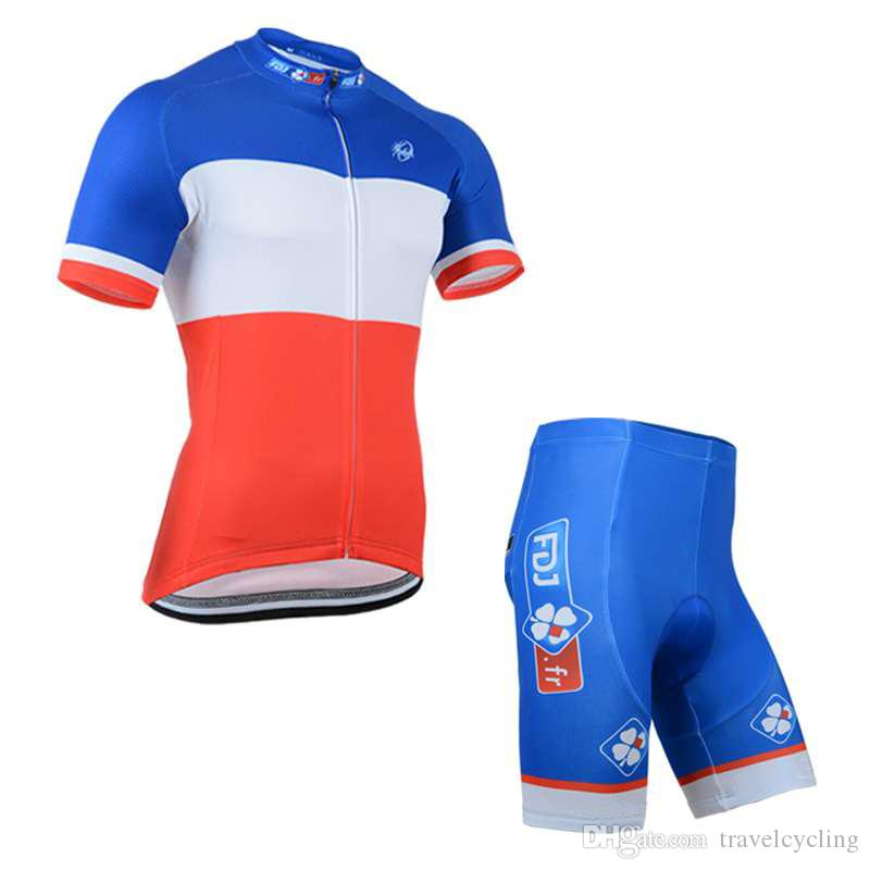 2018 FDJ Cycling Jersey Sets Pro Team Men Short Sleeve Mtb Bike ... 098091ead
