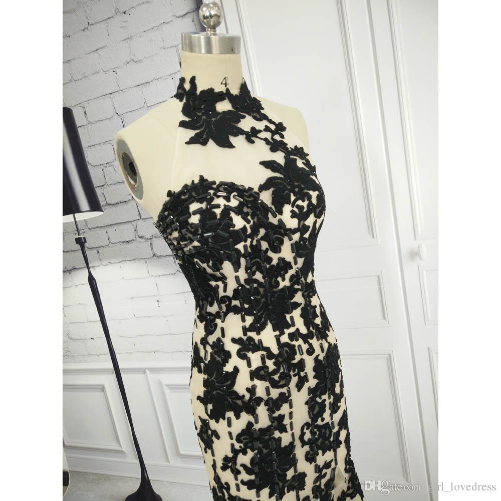 Real Photo Elegant Women off Shoulder Halter Mermaid Lace Evening Dresses with Slit Floor Length Black Prom Gowns Custom Made