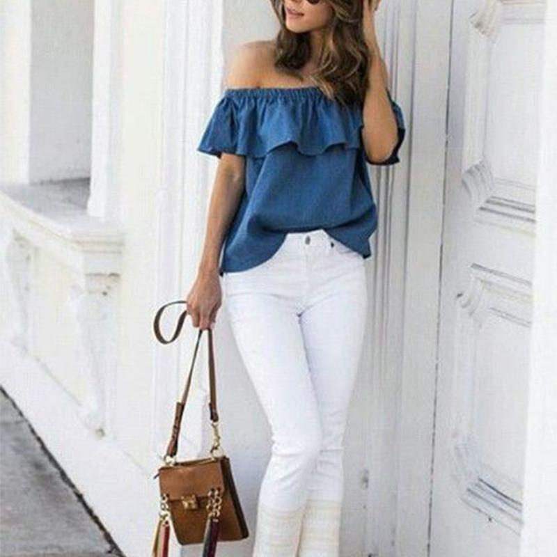 23762b18618c0 2019 2018 Summer Women Off Shoulder Blouse Vintage Ruffles Blouses Sexy  Sleeveless Jeans Denim Blue Shirts Female Casual Blusas Tops From Paluo