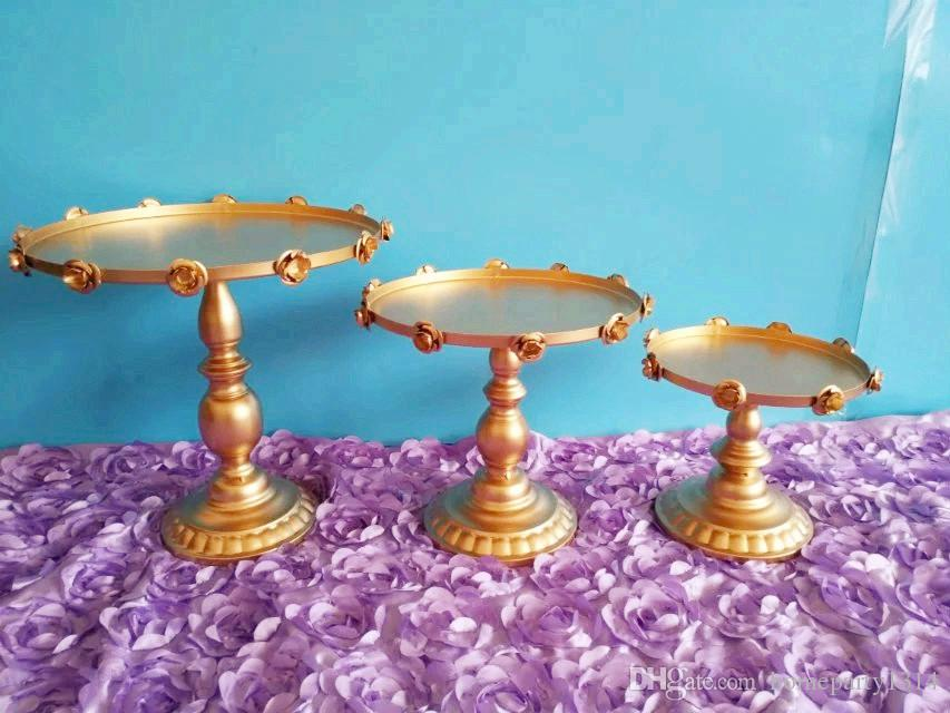 Metal iron Rose gold white cake stand set 8''/10''/12''cake accessory dessert trayParty Dessert Serving Stands Wedding Decorations Supplies