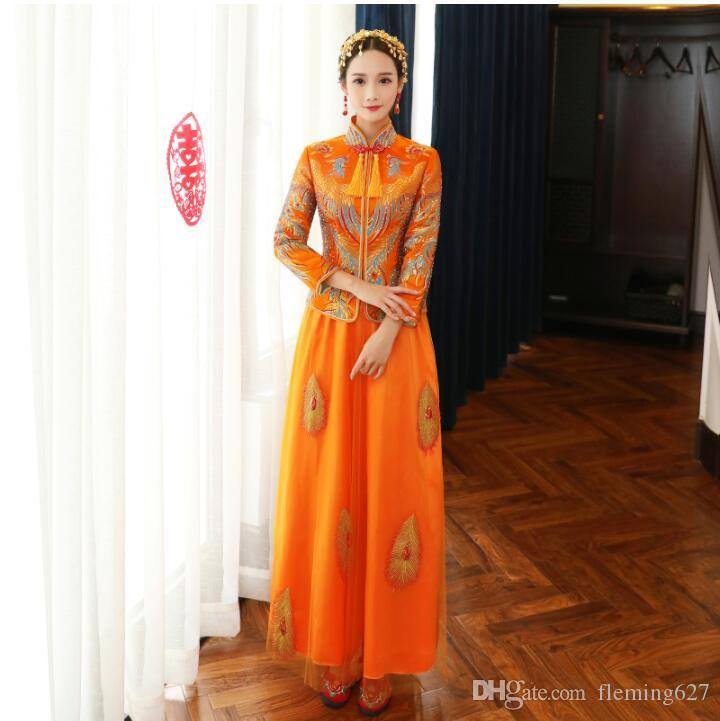 2019 Ancient China Wedding Dress Bride Cheongsam Asian