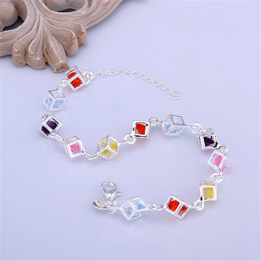 Красивые посеребренные цвет Кристалл браслеты новые списки высокое качество мода ювелирные изделия рождественские подарки свадебные украшения