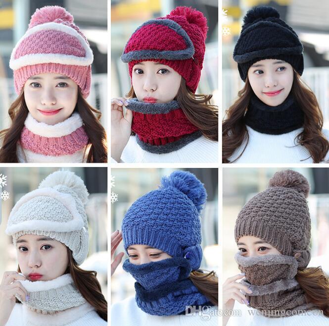 8f4e5a4e045 2019 New Winter Hats And Scarves Korean Cute Pom Pom Beanie Warm Knitted  Wrap Women Mask Chemo Hats Velvet Girls Skullies From Wenjingcomeon