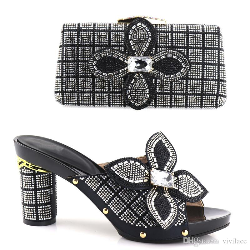 vivilace 2018 Silver African Shoes And Matching Bags With Beautiful Design And Many Rhinestones For African Party/Wedding
