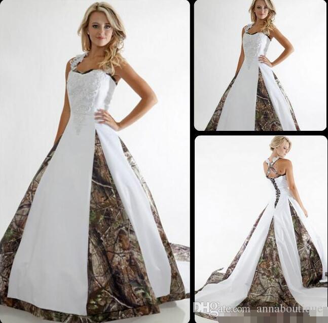 Discount Plus Size Country Camo Wedding Dresses 2018 Lace Straps ...