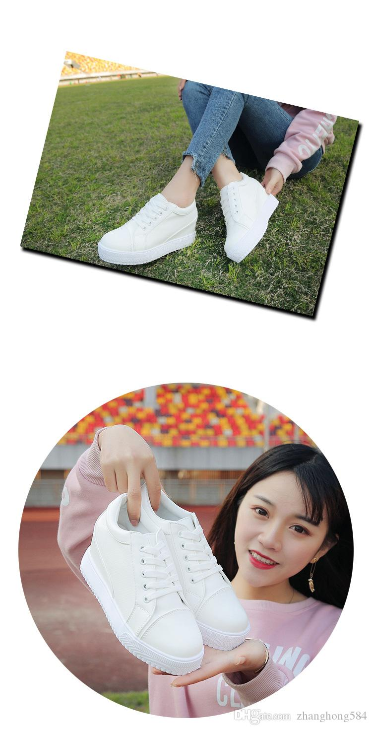 Han edition 2018 single women in the spring and autumn shoes breathable running sports casual shoes with thick soles joker white shoe