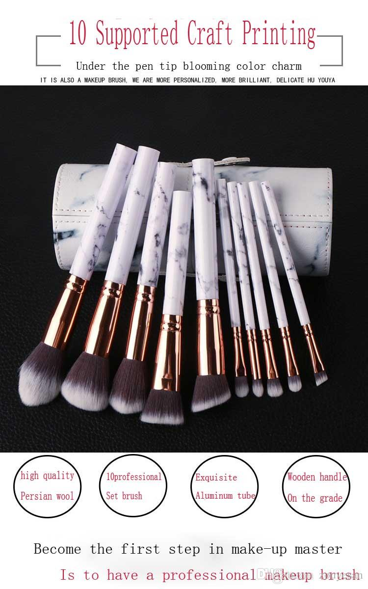 Zouyesan 2019 10 Marble Cylinder Brush Set Beauty Makeup Tools
