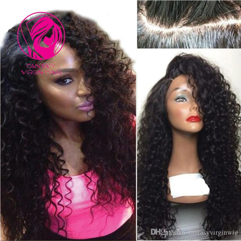 6ae72ba07 Fantasy Virgin Hair 150% Density Kinky Curly 360 Lace Frontal Wigs Pre  Plucked Side Parting Brazilian Human Hair Wig With Baby Hair Cheap Real Hair  Wigs 100 ...
