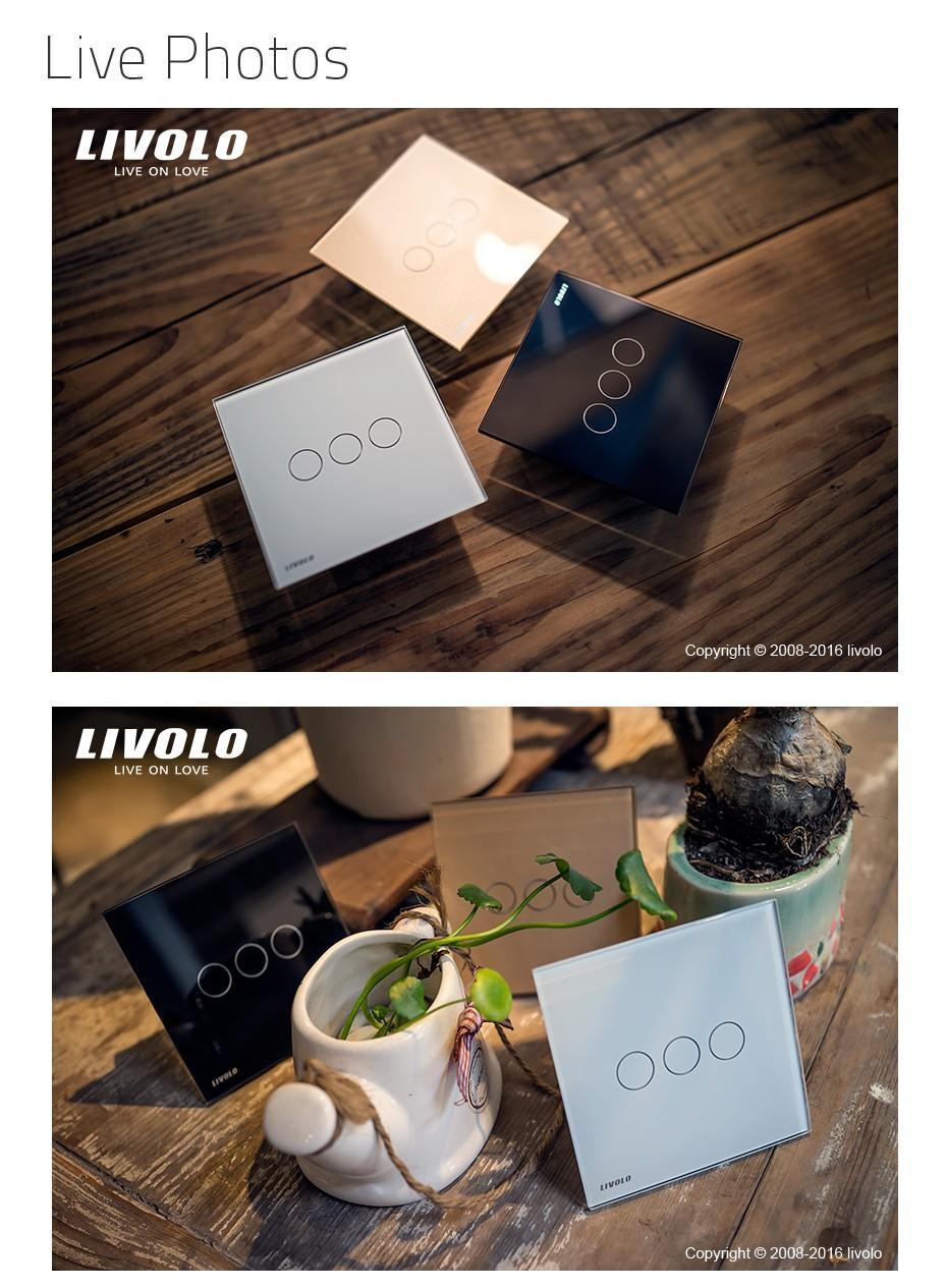 Livolo UK Standard Wall Switch, Ivory White Crystal Glass Panel,AC 220-250V VL-C301-61, Light Touch Switch,1 Gang 1 Way
