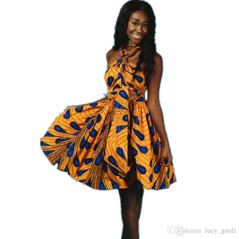 129481cb4743 Acquista Abiti Africani Abiti Da Sera Feste Clubwear Bazin Estate Elegante  Vestito Da Donna Stampato Abito Vintage Dashiki Stile Mantello Abito Senza  ...