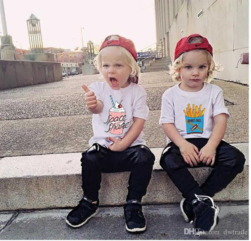 INS Niños Camiseta Niños Papas Fritas Camisetas Impresas Niños Verano Manga Corta Helado Ropa Niñas Camisetas Niños Ropa