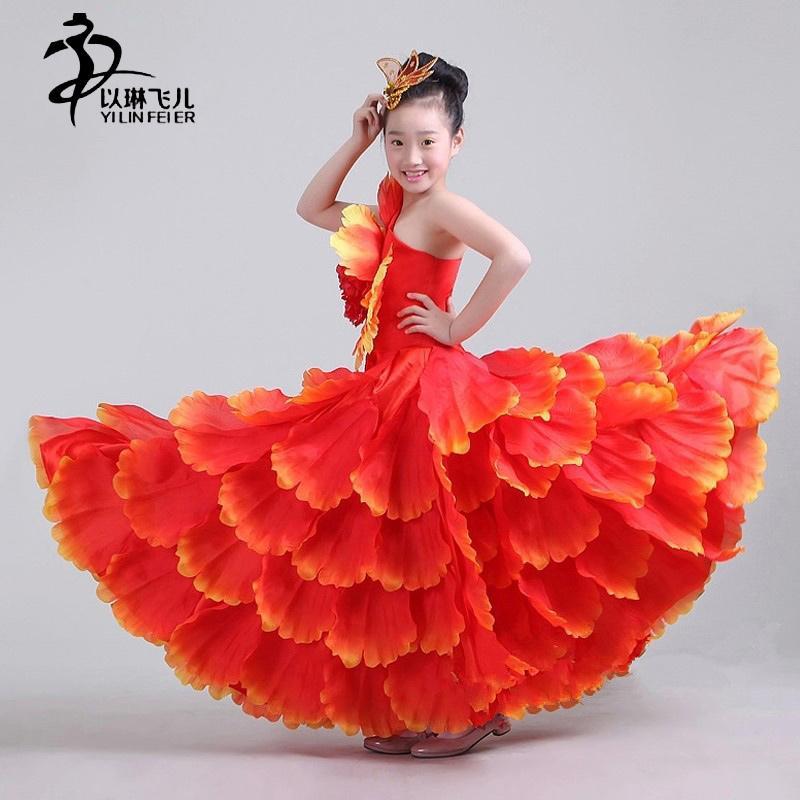 b2748fdd808dc Acheter Robe D extension De Costume De Danse Pour Enfants Flamenco BLEU  ROUGE ROSE JAUNE VERT 360Degree De  53.92 Du Blueberry16