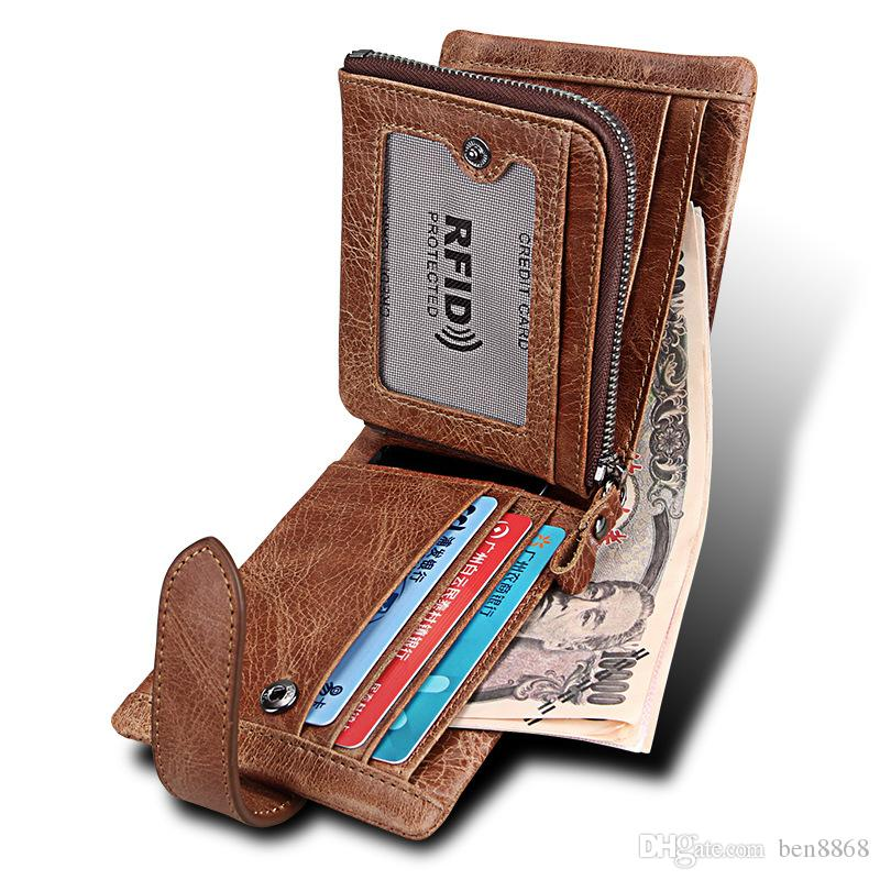 Genuine Leather Mens Bifold Wallet Coin Purse Male Cowhide Wallet Portomonee Rfid Protected Wallet Money Bag Card Holder