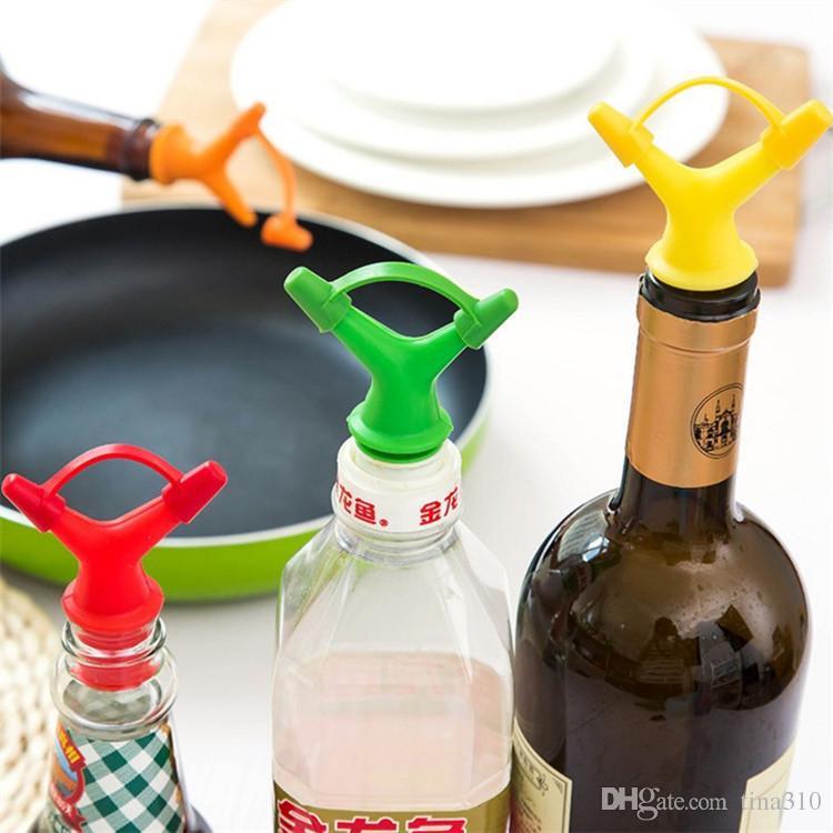 Doble Cabeza Botella de Aceite de Salsa Boca Tapón Líquido Pourer Herramienta de Cocina Botella de Aceite Boca Tapón Botellas Tapas de Boquilla IB632