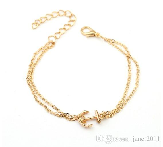 Trendy Bracelets Anchor Charm Alloy Silver Gold Filled Womens Link Bracelets Anchor Pendant Hand Chain