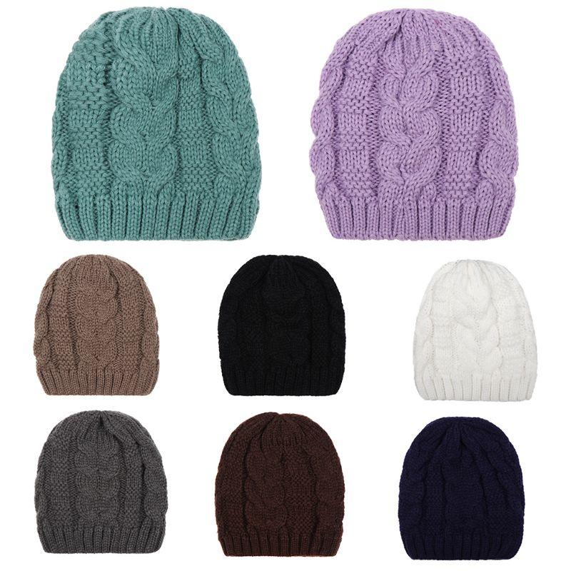 05a8e33c643 Unisex Winter Thick Cable Knitted Hat Ribbed Twist Braided Crochet ...
