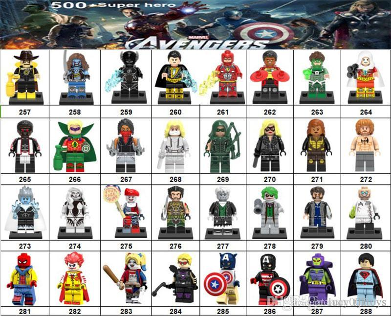 Wholsale Super hero Mini Figures Marvel Avengers DC Justice League Wonder woman Deadpool Spiderman Cat Woman building blocks kids gifts