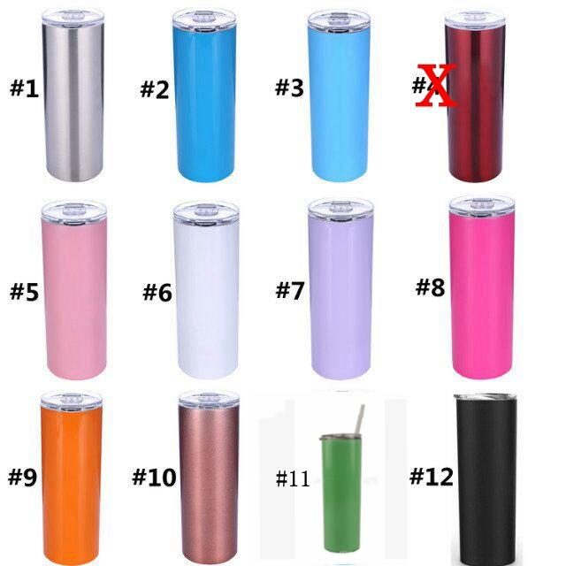 a5c8c77a52e 20oz Stainless Steel Skinny Tumbler With Lid And Straw Double Wall Vacuum  Insulated Straight Tumbler Matte Black Coral Mint Blue MMA694 Designer  Coffee Mugs ...