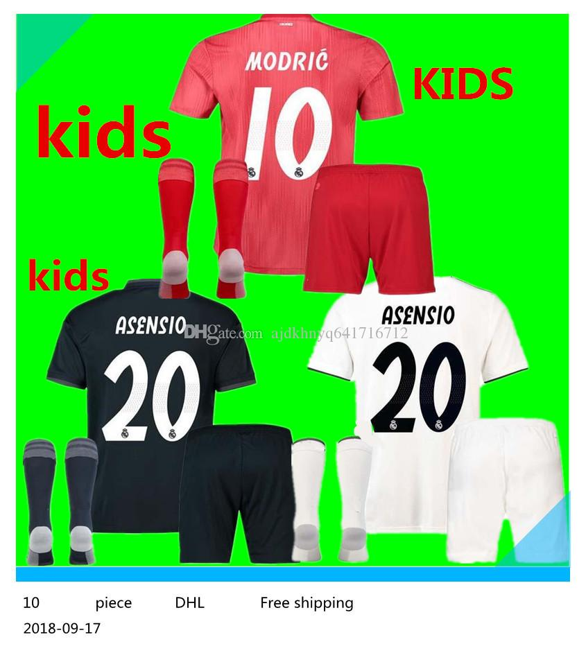 ce7ab63c0 2018 19 Real Madrid Kids Soccer Jersey Full Sets Youth Child Kit 18 ...