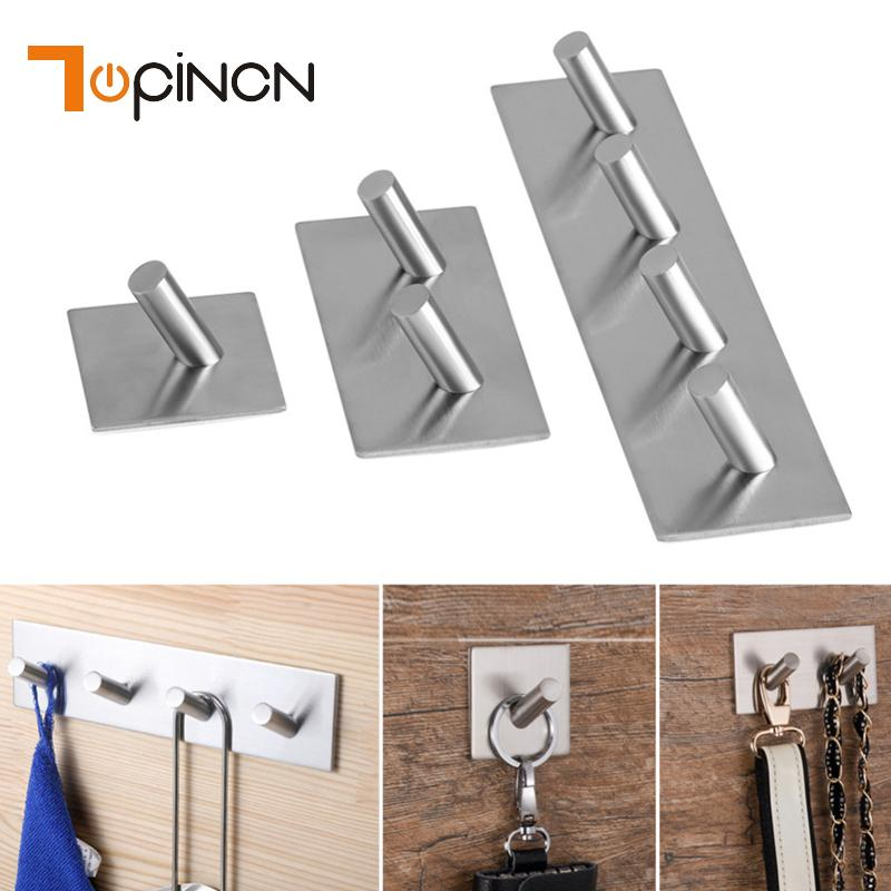 3Meter Sticker Adhesive Stainless Steel Hooks Wall Door Clothes Coat Hanger Kitchen Bathroom Key Holder Towel Hooks For Hanging