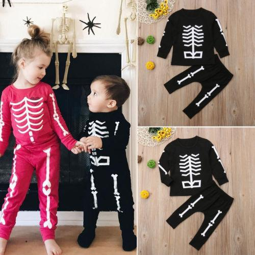 d1cf8c23a 2019 Baby Kids Boy Girl Skeleton Halloween Costumes Zombie Outfit ...