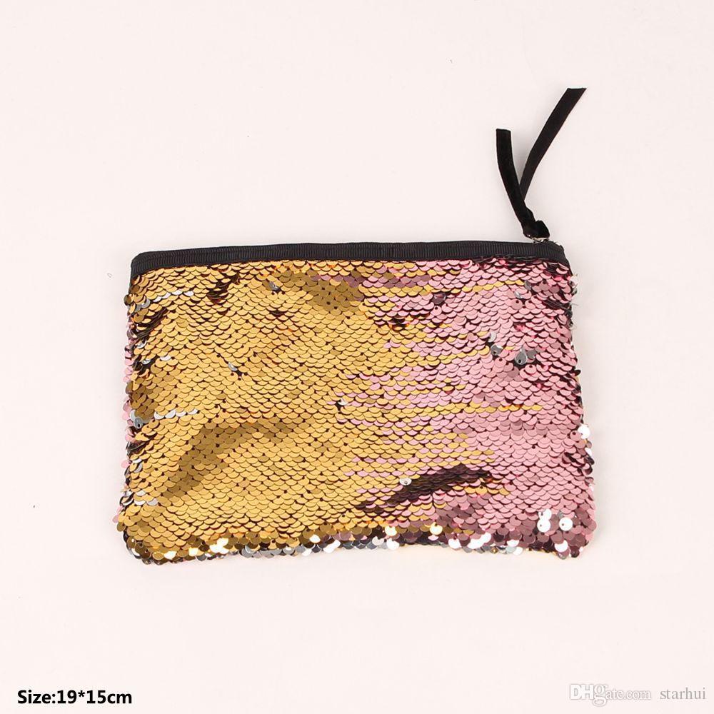 Las lentejuelas de lujo bolsa de almacenamiento para las mujeres maquillaje cosmético del bolso de la sirena del embrague Inicio Monedas Organización almacenamiento WX9-362
