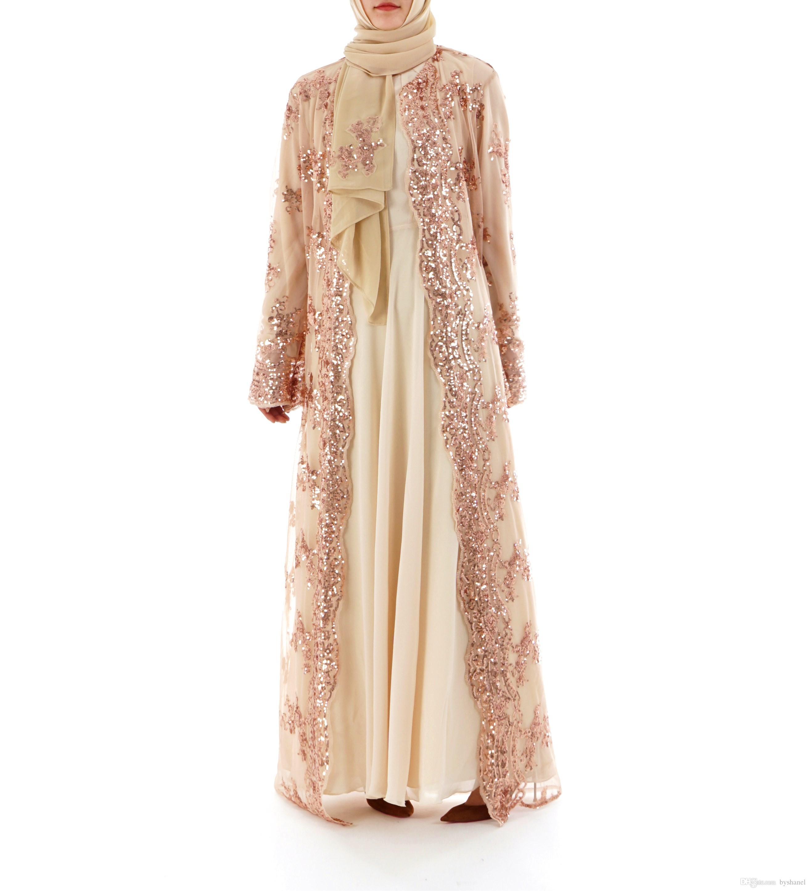 61918aaf5127 2019 Fashion Women Sequin Embroidery Lace Perspective Abaya Muslim Women  Long Cardigan Chiffon Blouse Turkish Islamic Clothing From Byshanel, ...