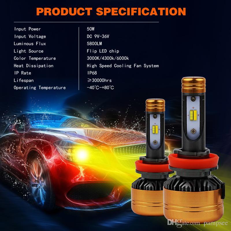 PAMPSEE Car Tricolor LED Faro Z5 H1 H4 H7 H11 100W 5800LM Flip Chips 3000K 4300K 6000K Switchback Bombillas LED