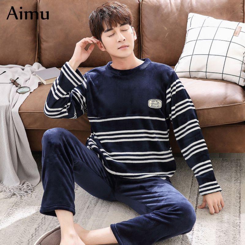 2019 Winter Men Pajamas Coral Fleece Warm Thicken Pajama Set Flannel Long  Sleeve Men Nightwear Mens Plus Size Pant Set Loose Homewear From  Victoriata a6e42d6ab