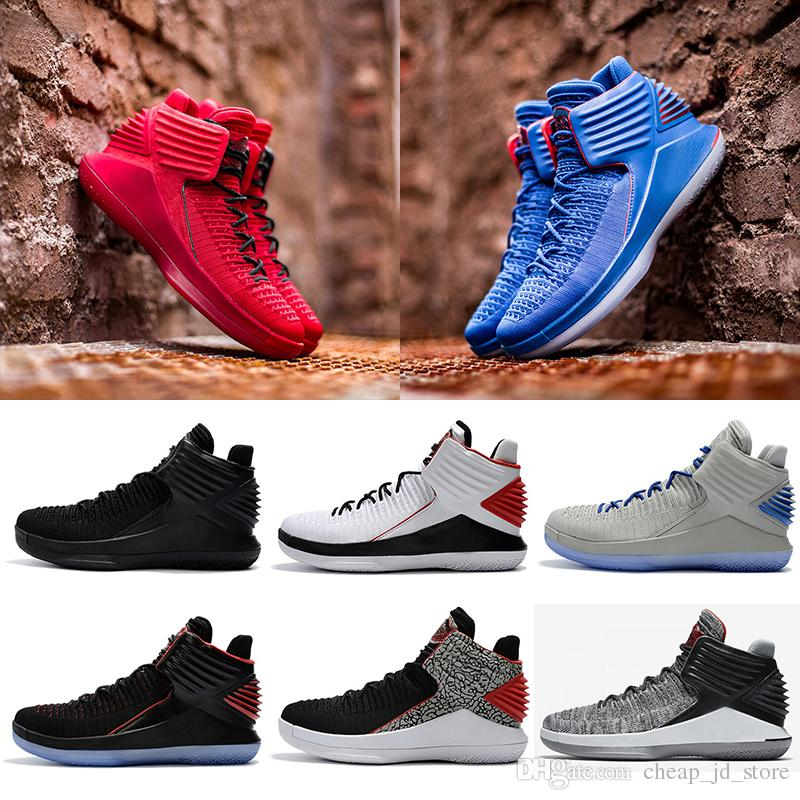 competitive price 49677 2e511 Acheter Nike Air Jordan Retro Shoes 2018 Nouvelle 32 XXXII Bas Chaussures De  Basket Ball Weaves Vamp Caroline Du Nord Bleu Bleu Noir Rouge Gris  Athlétisme ...