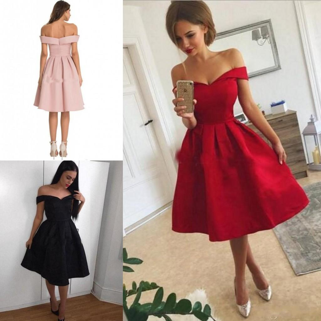 b4d0be74f8 Modern Short Party Dresses Satin Off The Shoulder Homecoming Dresses Mini Party  Gowns Cheap Prom Cocktail Formal Wear Junior Party Dresses Ladies Dresses  Uk ...