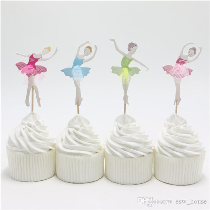 새로운 우아한 발레리나 컵케익 토퍼 댄서 케이크 토퍼 케이크 액세서리 여자 생일 파티 용품 /