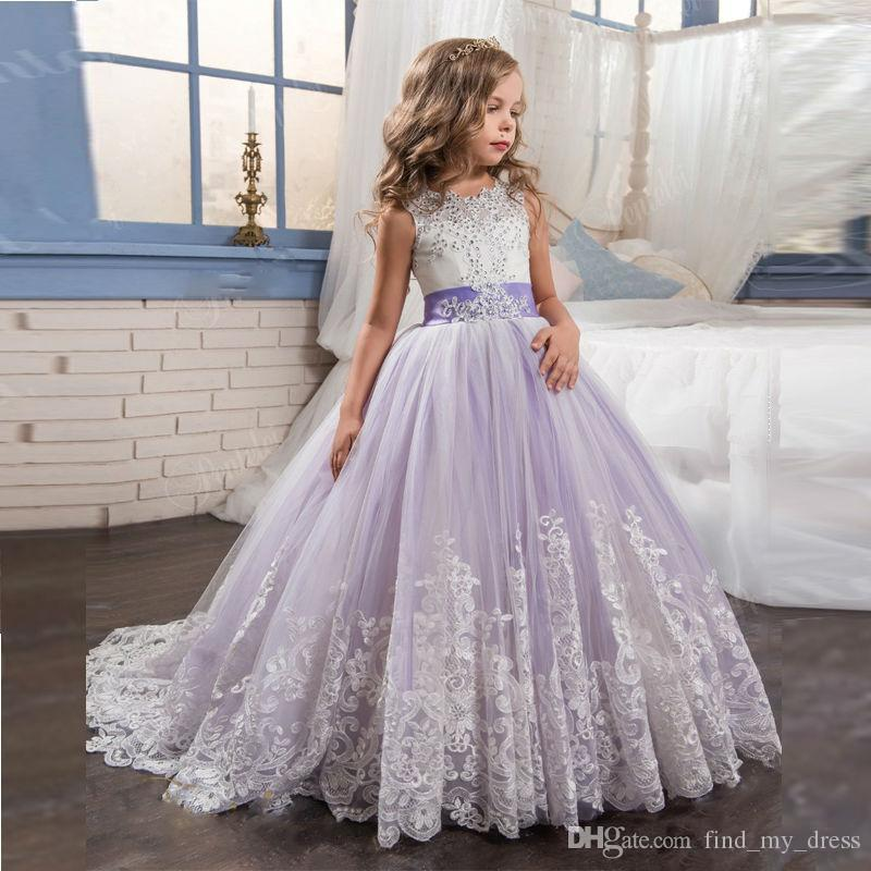 2c6f5af5b08 Crystal White And Light Purple Tulle Lace Flower Girl Dress Beads New Sash  Bows Princess Wedding Party Ball Gown Child Pageant Best Selling Purple ...