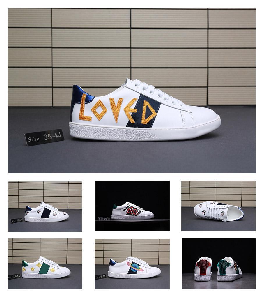 a19b43100cd741 Acheter Gucci Men Shoes Gucci Women Shoes Dernière Couleur De Cuir D'agneau  Brodé Correspondant À La Mode De Style De Campus Chaussures Casual, Jeunes  ...