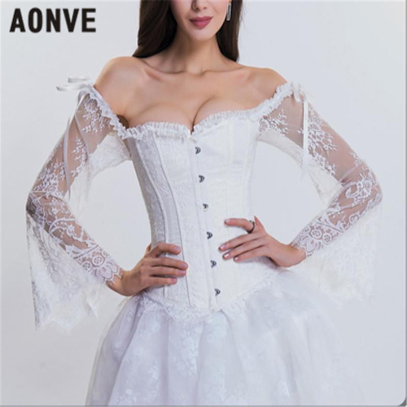 d532317b2ec 2019 AONVE Women Steampunk Corset Gothic Bustiers Long Sleeves Off Shoulder  Sexy Corsets For Wedding Cosplay Show Waist Trainer Tops From Vikey10