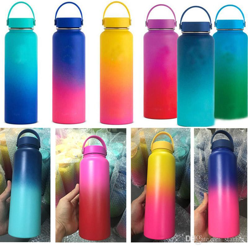 Vacuum Water Bottles Insulated 304 Stainless Steel Water Bottle Travel Coffee Mug Cup Handle Mouth Flip Cap Cups 18oz 32Oz 40oz WX9-940