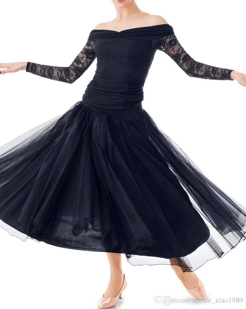 4e7898550 New Black Adult/Girls Ballroom Dance Dress Modern Waltz Standard  Competition Practice Dance Dress Lace Long Sleeve T-Shirt+Skirt Suit