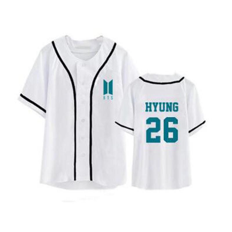 46c39eca2f604 Compre KPOP BTS Summer Camiseta Femenina Camiseta De Béisbol Tshirt Loose  Unisex Camiseta Para Mujer Para Hombre Tops Cardigan Punk Button Camisetas  Camisas ...